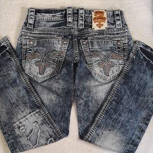 "🔥🎸Rock Revival ""Slim Straight"" Jeans Size 30x30"